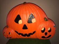 "New Union Vintage Halloween 31"" Wide Pumpkin Trio Lighted Blow Mold Decoration"