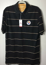 Pittsburgh Steelers Black Striped Polo Shirt. Medium