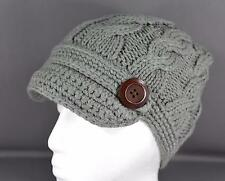 Grey winter hat cable knit button ski brim hat crochet cap beanie winter cabled