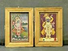 OLD VINTAGE RARE HINDU RELIGIOUS GODS PRINT WITH FOLDING WOODEN FRAME &GLASS BOX