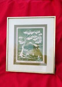 """Vintage Al Kaufman listed artist INTAGLIO ETCHING """"Crystal Lake"""" SIGNED #11/100"""