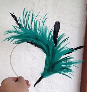 green feather headband fascinator millinery bridal wedding hat hair piece