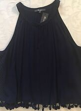 MISS ME Navy Tassel Cropped Tank Top Size L Large NWT New $54 Junior's MDT1169T