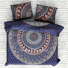 Elephant Mandala Wall Hanging Boho Indian Tapestry Bedspread Throw With Pillows