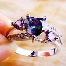Heart Nice Rainbow & White Topaz Amethyst Gems Unisex Silver Ring Sz 6 7 8 9 10