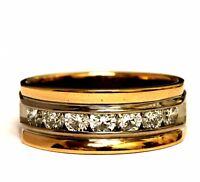 18k rose yellow gold 1.05ct VS1 H diamond mens wedding band ring 11.4g gents