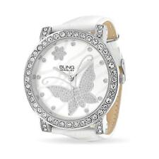 Round White Face Butterfly CZ Pave Bezel Wrist Watch White Faux Leather Band