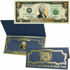 22K Gold Layered Uncirculated Two Dollar Bill - Special Edition Collectible Curr