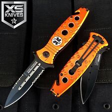 TAC FORCE Spring Assist EMS Orange PARAMEDIC Pocket Knife w/ Glass Breaker