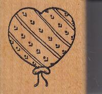 "balloon heart azadi earles Wood Mounted Rubber Stamp 1 1/2 x 1 1/2"" free ship"