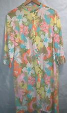 Vintage 60s Hippy Hippie Floral Nightgown Orange Blue Flower Gown Nylon L Yellow
