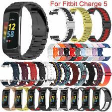 Für Fitbit Charge 5 Edelstahl/Leder/Nylon/Silikon Band Armband