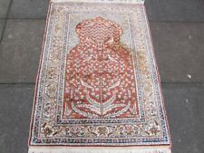 Old Traditional Hand Made Turkish Oriental Brown Orange Silk Rug 123x90cm