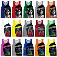Summer Mens Women Lady Gaga 3D print Beach Tank Tops Loose Cool Sleeveless Vests