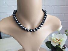 12mm Grey Glass pearl short Beaded necklace-wedding fashion