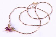"""Vintage 9ct Gold Diamond & Tourmaline Set Pendant Chain Necklace 16.5"""" 3.3g d37"""