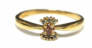 .375 9ct YELLOW GOLD Red TOURMALINE & Blue TOPAZ Cluster Ring, N.5, 1.46g - H63