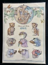 Oliver and Olivia Owl Paper Dolls Poster, Embossed, 1993, Kathy Lawrence Art