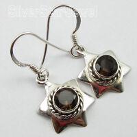 """925 Sterling Silver Jewelry Wholesale, Fancy SMOKY QUARTZ STAR Earrings 1.2"""""""