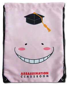 **Legit Bag** Assassination Classroom Pink Korosensei Drawstring Backpack #84638