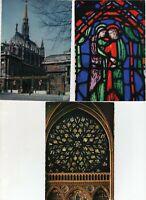 3 Large Vintage Post Cards - La Sainte Chapelle - Paris - France
