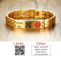 Gold Medical Alert ID Men QR CODE Bracelet Health Magnet Therapy Free Engraving