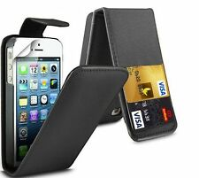 Flip Leather case Cover with Card Slots&clip for Apple Iphone 4/4s/5/5S/6/6S UK