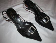 KATE SPADE NEW YORK tweed pointy toe slingback kitten rhinestone buckle shoes **