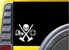 Fireman Skull Ax Hydrant K323 6 inch decal Maltese cross sticker
