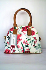 "Sz Med Beautiful Spring Floral Dome Satchel by Del Mano 12"" W x 9"" H x 4.5""D NWT"