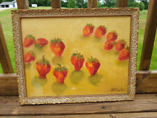 Gold Carved Wood Frame Oil Canvas Painting Strawberries Picture M.B. Fowler VNTG