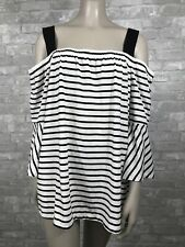 Lane Bryant 18 20 Black White Striped Cold Shoulder Blouse 3/4 Bell Sleeves