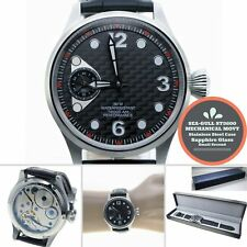 44mm STEEL Men Watch 6497 SEA-GULL ST3600 Swan-Neck Movement Sapphire Glass W449