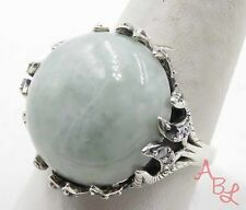 "Sterling Silver  925 Filigree ""Missing Stone"" Jade Ring Sz 10 (11.1g) 569075"