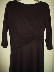 Phase Eight Aubergine 3/4 Sleeve V Neck Wrap Midi Dress 16
