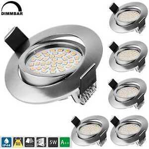 6x LED Einbauleuchten Bad Strahler Spots ultraflach Lampe Deckenspots IP44 82mm