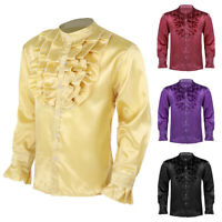 Men Slim Fit Long Sleeve Silk Satin Shirt Long Sleeve Collar Button Business Top