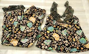 Victoria's Secret Floral Satin Sleep Cami Tank Ruffle Long Pant Pajama Set M