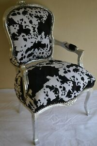 LOUIS XV ARM CHAIR FRENCH STYLE CHAIR VINTAGE FURNITURE COW COLOUR