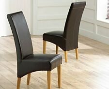 Home Etc Cannes Bonded Leather Dining Chairs, Brown - Set of 2
