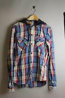 Franklin Marshall SHMR182CHLW11 Mickey Blue Mill Check Long Sleeve Hooded shirt
