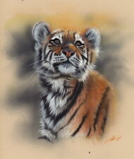 Original watercolor Painting Tiger Wildlife Art by Christina Schulte