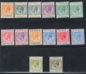 1921-23 Cyprus. SC#72-83. SG#85-96. Mint, Never/Lightly Hinged, VF