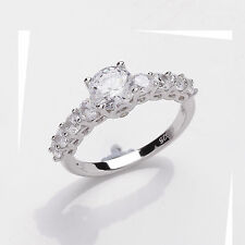 Sterling Silver Platinum Plated 1 Carat Solitaire With Accents Ring  Sizes  L-R
