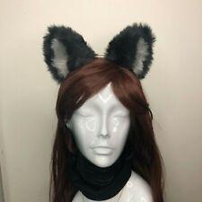 Big Cat ears Kitty Headwear Black Furry Grey Fur inside Animal Headband Costume