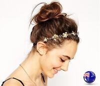 Women Lady Metallic Bohemian Retro Gold Chain Flower Party Head hair headband