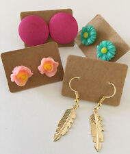4 Pairs Earrings Pack, Gold Tone Feather, Mint Flower, Peach Flower, Pink Round