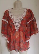 Free People Watercolor Print Sheer Boho Lace Peasant Festival Top Shirt sz Small