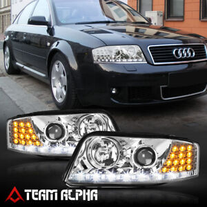 Fits 2002-2004 Audi A6 C5 {LED DRL/SIGNAL} Chrome/Clear Projector Headlight Lamp