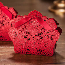 20PCS Rose Laser Cut Hollow Candy Box Wedding Party Favors Gift Bags with Ribbon